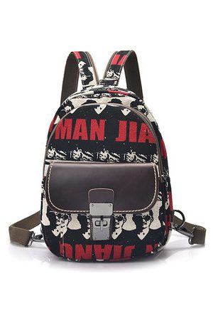 Newchic Women Rucksacks - Woman Canvas Graffiti Backpack Students School Bag Shoulder Bag