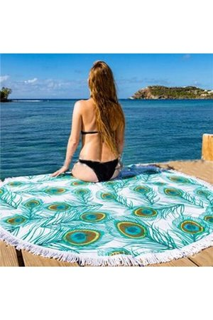 Newchic Round Beach Scarf Shawl Towel Peacock Feather Pattern Yoga Mat Decor