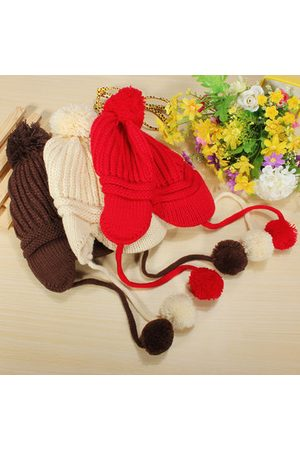 Newchic Boy Baby Unisex Child Double Balls Style Girl Cap Fall Winter Warm Knitted Hat