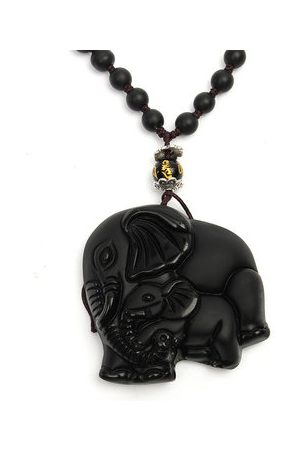 Newchic Vintage Men Necklace Chinese Natural Obsidian Hand-Carved Elephant Necklace