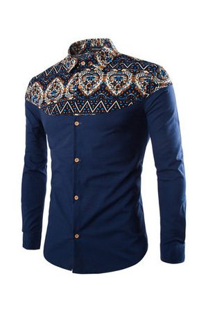 Newchic Mens Spring Fall Floral Pattern Retro Printing Turndown Collar Casual Designer Shirts