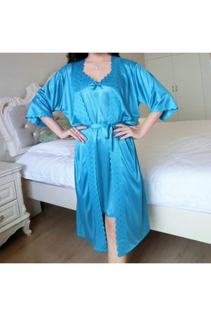 Newchic Women Bathrobes - Sexy Ice Silk Two Piece Suit Lace Spaghetti Strap Nightdress With Robe For Woman