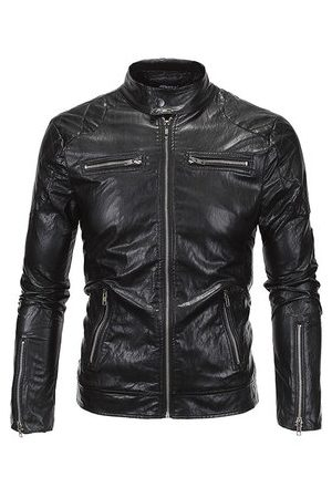 Newchic Men Leather Jackets - Motorcycle Punk Style Cool Jacket