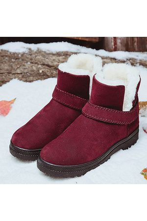 Newchic Women Ankle Boots - Big Size Strappy Warm Suede Ankle Slip On Fur Lining Flat Snow Boots