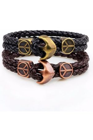 Newchic Men Bracelets & Bangles - Rock Men Bracelet Vintage Anchor Double Layer Leather Bracelet