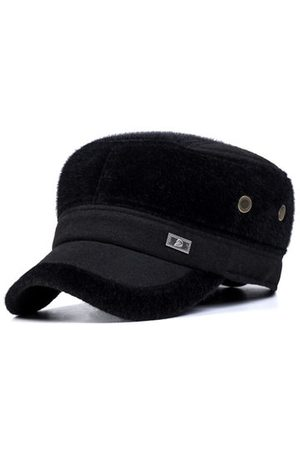 Newchic Men Hats - Men Earflaps Earmuffs Artificial Mink Fur Flat Baseball Cap Warmer Thicken Outdoor Casual Hats