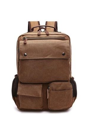 Newchic Men Multi-pocket Canvas Casual Shoulder Bags Large Capacity Backpack Travel School Sports Bags