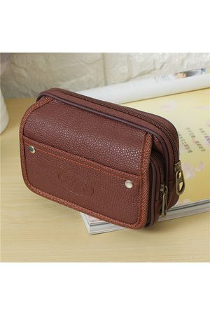 Newchic Men Sports Bags - Men PU Leather Waist Bag Casual Running Travel Wallet