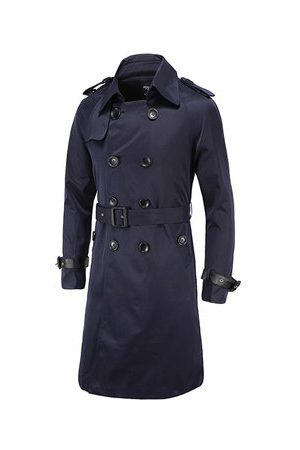 Newchic Men Trench Coats - Double-breasted Slim Fit Trench Coat for Men