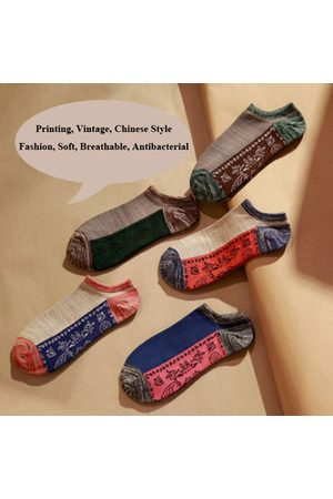 Newchic Men Socks - Fashion Printing Vintage Chinese Style Personality Breathable Boat Socks For Men