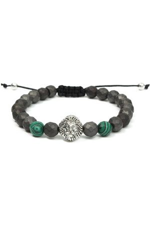 Newchic Men Bracelets & Bangles - Rock Men Bracelet Green Malachite Gemstone Faceted Matte Hematite Lion Head Beaded Bracelet