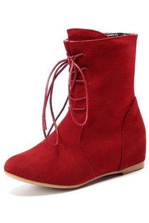 Newchic Women Lace-up Boots - Heel Increasing Lace Up Pure Color Mid Calf Flat Boots