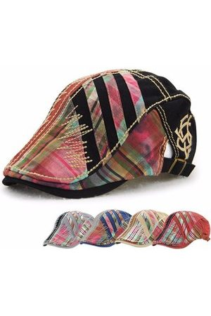 Newchic Women Men Cotton Washed Beret Cap Lines Stripe Adjustable Buckle Newsboy Cabbie Hat