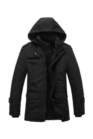 Newchic Men Winter Jackets - Winter Casual Fashion Thicken Warm Multi Pockets Black Detachable Hood Jacket for Men
