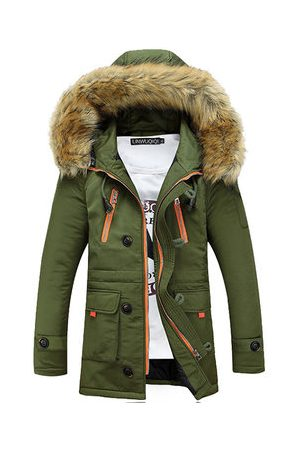 Newchic Men Winter Jackets - Mens Thicken Mid Long Hooded Padded Jacket