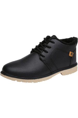 Newchic Men Leather Business Comfortable Warm Fur Lining Lace Up Casual Shoes