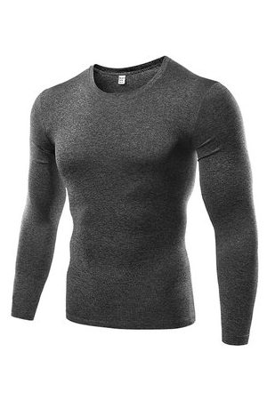 Newchic Men T-shirts - Mens Sports T-shirt Breathable Quick-dry Solid Color Tight Bodybuilding Training Top Tee