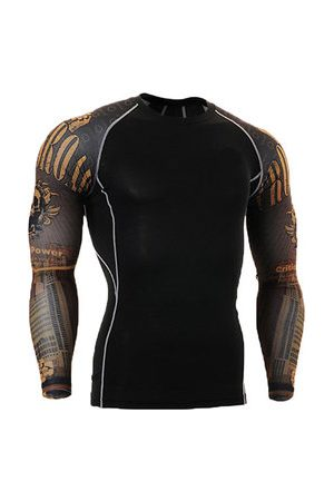 Newchic Mens Breathable Elastic Tight Fitting Bodybuilding Sport Quick-Dry Long Sleeve T-Shirt