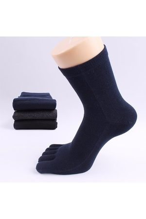 Newchic Men Cotton Casual Solid Color Toes Socks