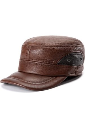 Newchic Men Hats - Cowhide Genuine Leather Baseball Cap Earflap Earmuffs Fleece Linen Adjustable Military Hat