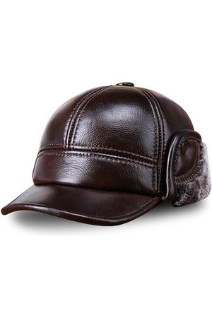 Newchic Men Hats - Men Cowhide Genuine Leather Baseball Cap Earflaps Earmuff Bomber Velvet Linen Hat