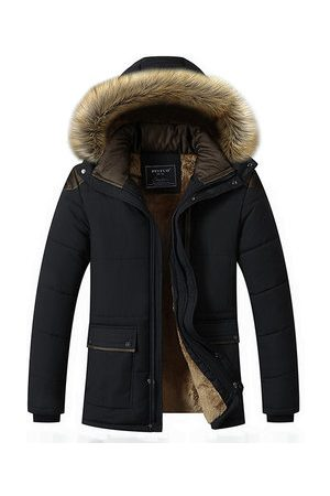 Newchic Men Winter Jackets - Detachable Hood Fur Padded Jacket