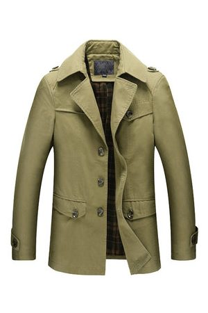 Newchic Men Winter Jackets - Autumn Winter Business Epaulet Slim Solid Color Military Style Cargo Overcoat For Men