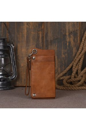 Newchic Hand Rubbed Leather Cowhide Large Capacit Cellphone Bag Card Holder Wallet For Men