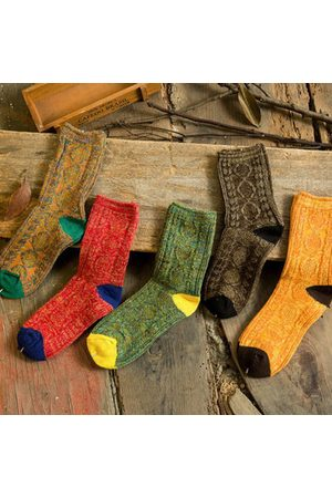 Newchic Women Knitted Mixed Multicolor Boots Cotton Socks Harajuku Hosiery Style Knitting Elastic Stockings