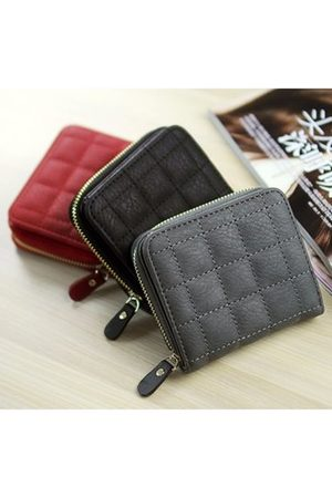 Newchic Women Wallets - Vintage Short Grid Card Holder PU Leather Purse Coin Bags For Women