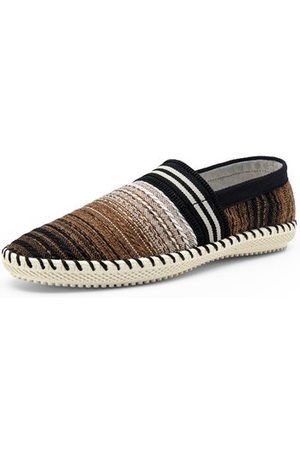 Newchic Stripe Woven Linen Cloth Breathable Soft Flat Loafers For Men