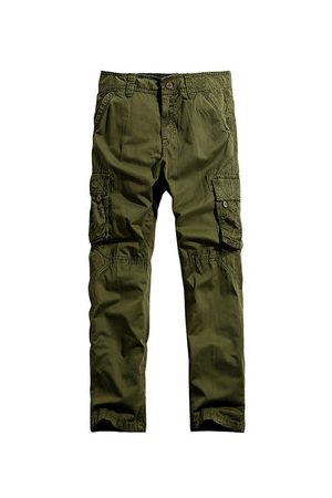 Newchic Casual Cotton Multi-Pocket Long Trousers Outdoor Solid Color Plus Size Cargo Pants For Men