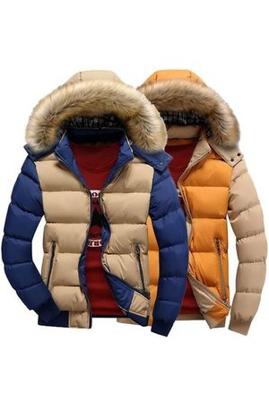 Newchic Men Winter Jackets - Winter Detachable Furred Hooded Coat