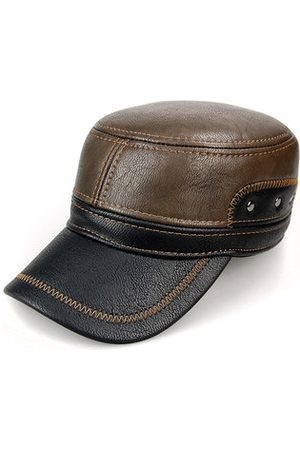 Newchic Men Warm Earflaps PU Leather Flat Cap