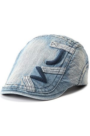 Newchic Men Denim Cotton Embroidered Beret Cap Casual Outdoors Peaked Hat