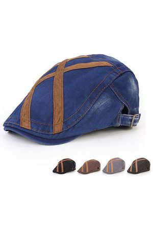 Newchic Men Denim Washing Beret Cap Line Casual Outdoor Sun Visor Peaked Hat