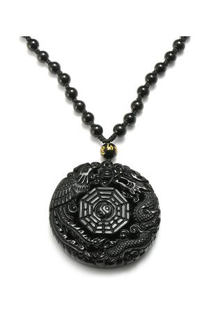 Newchic Men Necklaces - Black Obsidian Necklace Lucky Pendant Tai-Chi Chain Necklace