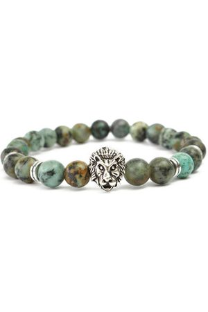 Newchic Punk Men's Natural African Turquoise Rock Silver Lion Head Elastic Beaded Bracelet