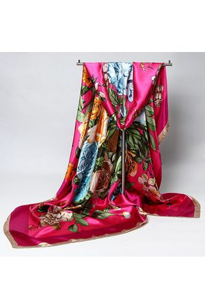 Newchic Women Headbands - 90*90cm Women Ladies Flower Floral Printed Multifunctional Satin Square Headband Scarf Shawls
