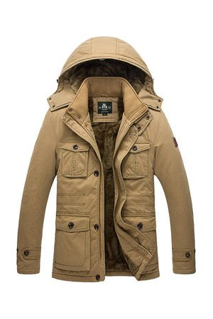 Newchic Men Winter Jackets - Plus Size Winter Thicken Multi Pockets