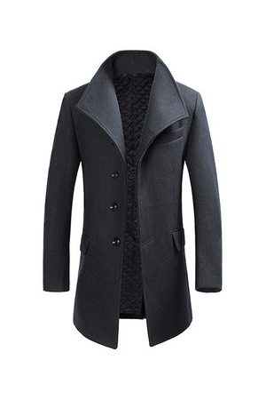 Newchic Men Trench Coats - Winter Gentlemanlike Woolen Trench Coat