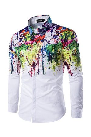 Newchic Casual Business Personality Flowers Spray Paint Long Sleeve Ink Splash Shirts for Men
