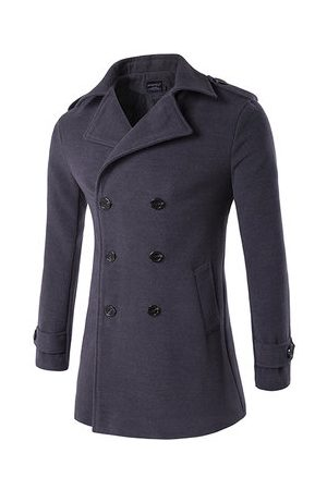Newchic Men Trench Coats - Business Thick Warm Double-breasted Trench Coat for Men