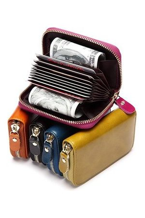 Newchic Women Wallets - Vintage Waxy Genuine Leather Multi-slots Card Holder Coins Bag Purse Wallet