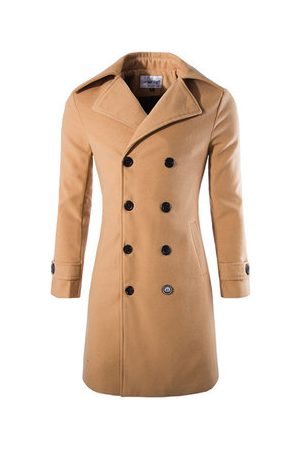Newchic Mens Winter Double-breasted Slim Fit Trench Coat