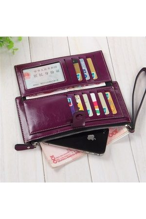 Newchic Vintage Multifunctional PU Leather Waxy Leather Card Holder Long Wallets