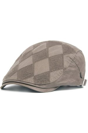Newchic Men Cotton Grid Plaid Beret Cap Buckle Adjustable Casual Paper Boy Cabbie Gentleman Hat