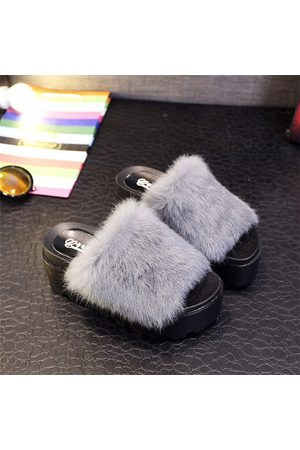 Newchic Furry Peep Toe Flat Indoor Outdoor Casual Slipper For Women