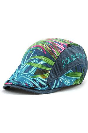 Newchic Men Casual Leaf Printing Beret Cap UV Protection Sun Visor Flat Peaked Hat