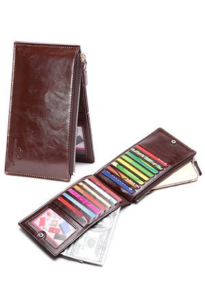 Newchic 15 Card Slots Card Holder Wallet Long Zipper PU Leather Coin Purse For Men